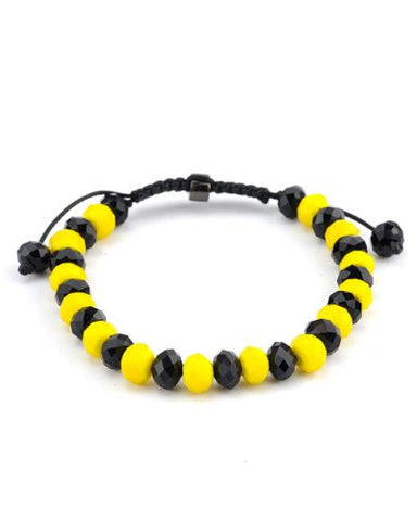 Black/Yellow Faceted Crystal Stone Adjustable Bracelet MB33BKYL