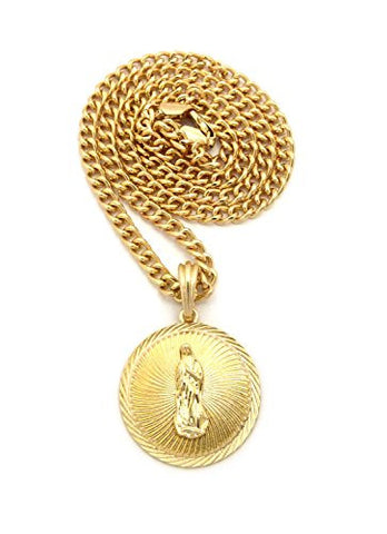 "Embellished Saint Mary Medal Pendant w/ 5mm 24"" Cuban Chain Necklace in Gold-Tone"