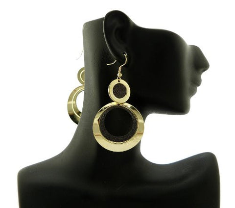 Gold/Black Tone Glittered Ring Dangle Earrings CE1108GDBK
