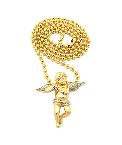 "Glitter Solitaire Angel Pendant 3mm 27"" Ball Chain Necklace in Silver/Gold-Tone"