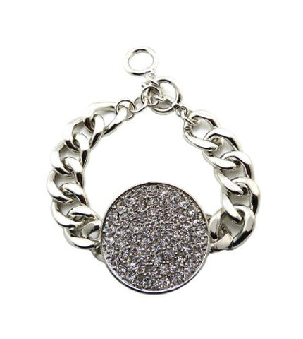 "Rhinestone Circle Charm 15mm 7.5"" Chain Bracelet in Silver-Tone"