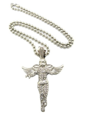 "Iced Out Silver Tone Floating Angel Pendant Necklace w/ 5mm 30"" Ball Chain XP915RBC"