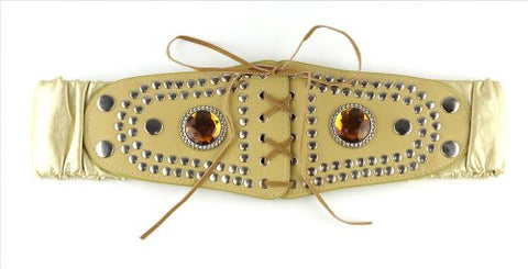 Women's Faux Leather Elastic Belt with Stud & Rhinestone Accents