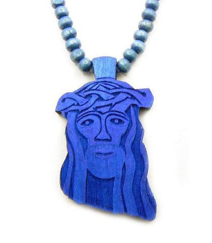 Jesus Piece W 6mm 30 Wooden Bead Chain In Blue Wj7bl