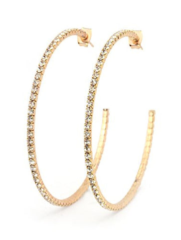 Clear Swarovski Elements 55mm Flex Hoop Earrings in Rose Gold-Tone MADE IN KOREA IKE1002CP
