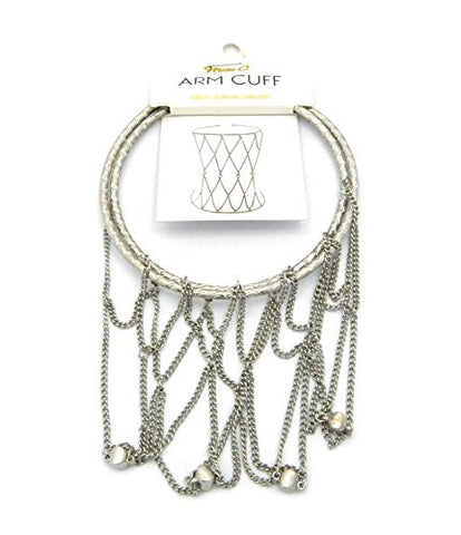 Solid Polished Net Style Stretchable Arm Chain Cuff Bracelet in Silver-Tone