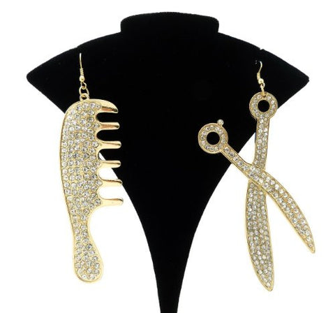 Hair Stylists Comb and Scissors Charm Earrings in Gold-Tone