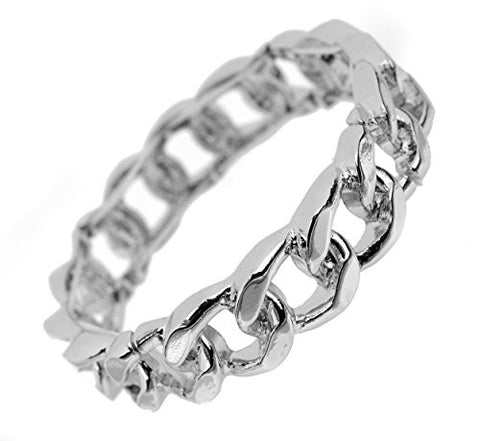 Chic Chain Look Stretch Bracelet in Silver-Tone