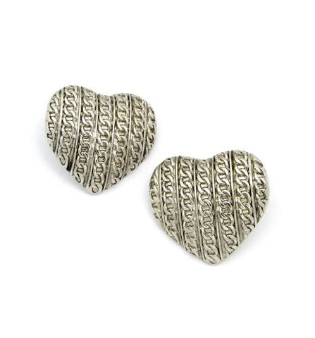Carved Antique Chain Pattern Heart Earrings in Silver-Tone