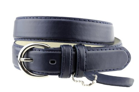 Nyfashion101 Women's Basic Leather Dressy Belt w/ Round Buckle H001-Navy-S