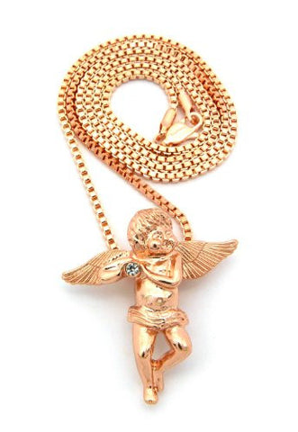 Baby Angel Cherub Studded Micro Pendant w/ Box Chain - Rose Gold Tone