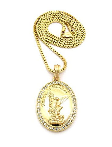"Stone Stud Frame Saint Michael Oval Pendant 2mm 24"" Box Chain Necklace in Gold-Tone"