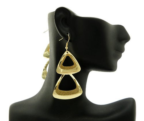 Shimmer Triangle Drop Earrings in Gold-Tone