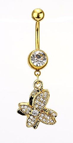 Clear Rhinestone Butterfly Charm Surgical Steel Belly Ring in Gold-Tone