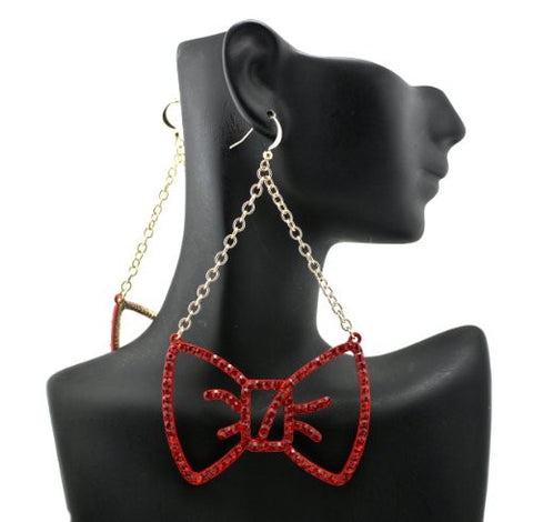 Red Rhinestone Ribbon Drop Earrings in Gold-Tone