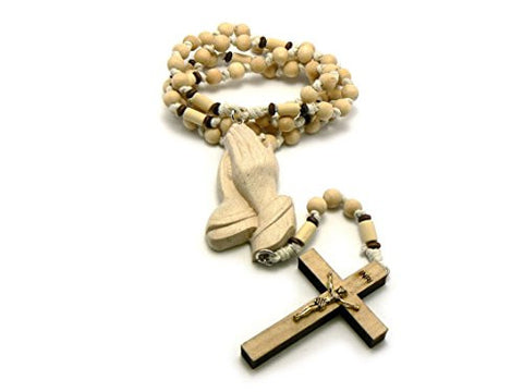 3D Praying Hands and Crucifix Cross Pendant Wood Rosary Necklace