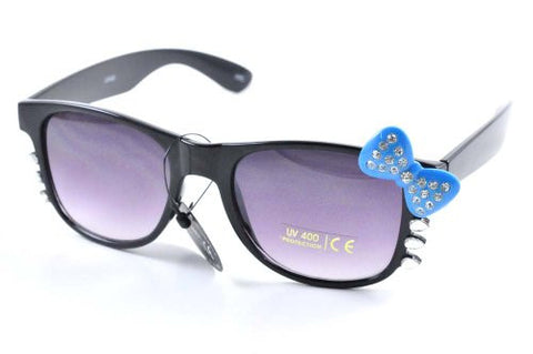Womens Retro Kitty Color Lens Glasses w/ Rhinestone Blue Bow and Whiskers Black