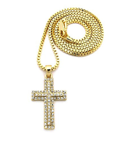 Pave Stacked Cross Necklace