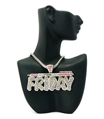 "Celebrity Look Pink Friday Pendant 4mm 18"" Franco Chain Necklace in Pink/Silver-Tone"