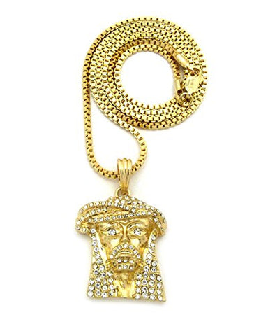 "Stone Studded Jesus Face Pendant w/ 2mm 24"" Box Chain Necklace in Gold-Tone"