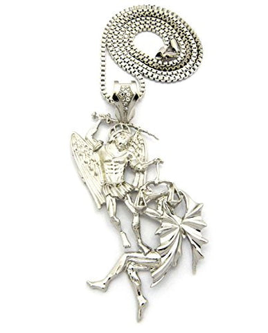 "Battle of the Angels St. Michael the Archangel Pendant 3mm 30"" Box Chain in Silver-Tone"