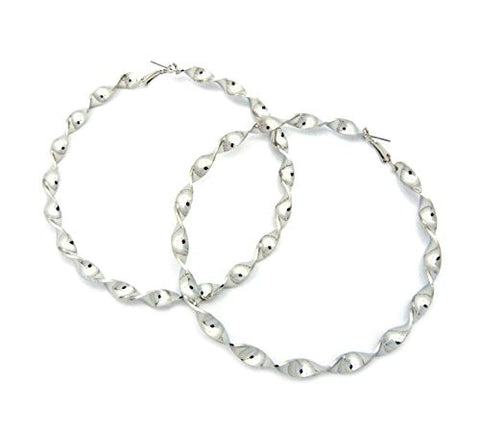Solid Polished Twirled Hoop Earrings in Silver-Tone