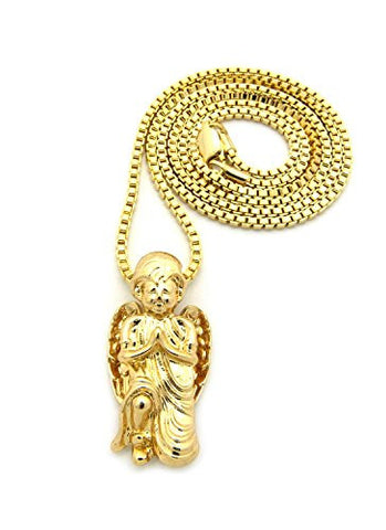 "Kneeling Prayer Angel Micro Pendant 24"" Box Chain Necklace in Gold-Tone MMP59GBX"