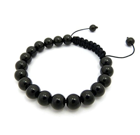 Jet Black Glass Bead Adjustable Macrame Bracelet