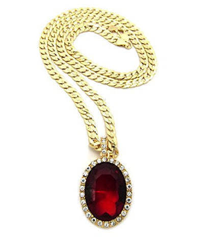 Rappers pave oval faux ruby stone pendant 5mm 24 diamond cut rappers pave oval faux ruby stone pendant 5mm 24 diamond cut cuban link chain aloadofball Images