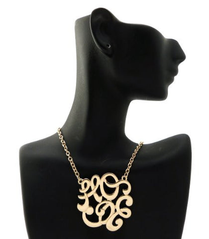 "Hope Monogram Pendant 3mm 18"" Link Chain Necklace in Gold-Tone"