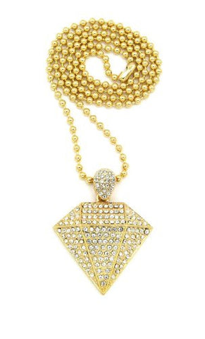 "Iced Out Gold Tone Diamond Shape Pendant 3mm 27"" Ball Chain Necklace BXZ92G"