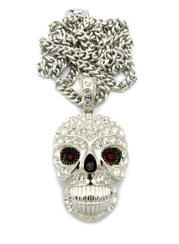 "Smile Skull Head Iced Out Pendant w/ 36"" Cuban Link Chain - Silver Tone CP133R"