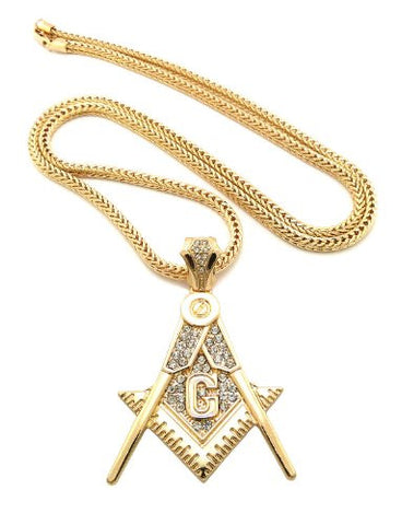 "Iced Out Gold Tone Square and Compass Pendant 4mm 36"" Franco Chain XP925G"