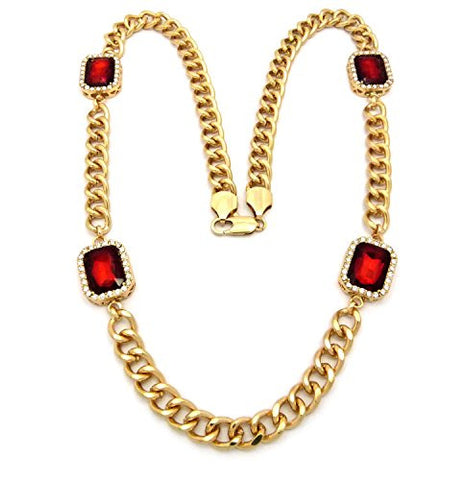 4 Faux Ruby Stone Chain Necklace