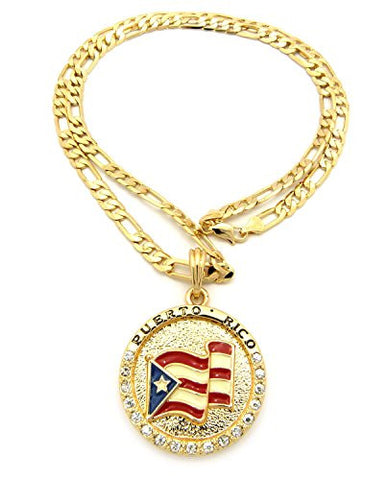 "Flag of Puerto Rico Pride Rhinestone Medal Pendant 24"" Figaro Chain Necklace - Gold-Tone XSP085G"