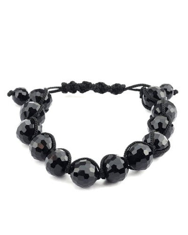 Jet Black Faceted Faux Glass Disco Ball Macrame Shamballa Bracelet MB127BK