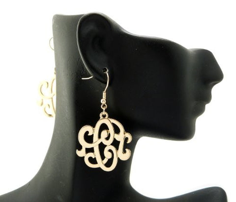 Initial Letter C Celebrity Style Monogram Earrings in Gold-Tone