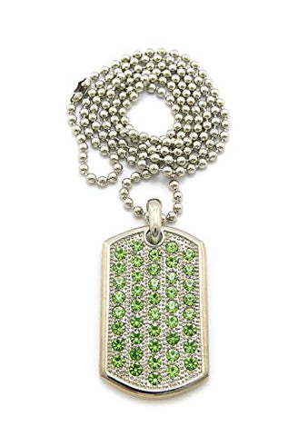 "Lime Green Rhinestone Paved Dog Tag Pendant with 30"" Ball Chain Necklace - Silver-Tone CP145"