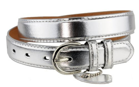 Nyfashion101 Women's Basic Leather Dressy Belt w/ Round Buckle H001-Silver-L