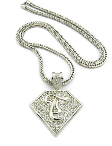 "Initial T Iced Out Rapper Pendant w/ 4mm 36"" Franco Chain - Silver Tone XP938RFC"