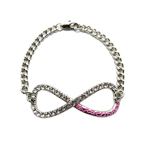 Directioner® Fans Pave Infinity Sign Link Chain Bracelet - Pink Inscription/Silver-Tone MB282RPK