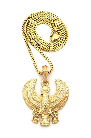 "Polished Egyptian Horus Falcon Pendant 2mm 24"" Box Chain Necklace in Gold-Tone"
