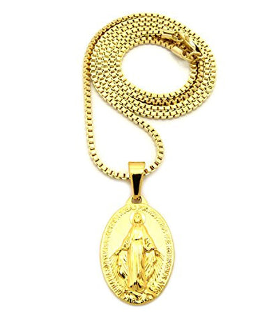 "Plain Stainless Steel St. Mary Miraculous Medal 2mm 24"" Box Chain Necklace in Gold-Tone"