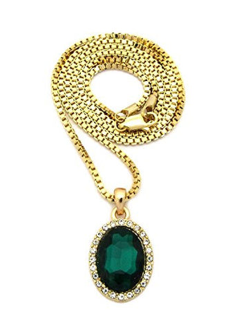 NYFASHION101 Pave Oval Stone Pendant with 2mm 24 Gold-Tone Box Chain Necklace