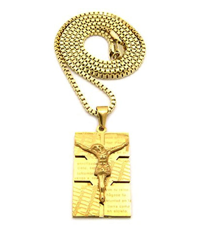"Plain Stainless Steel Crucifix Jesus Pendant 2.5mm 24"" Box Chain Necklace in Gold-Tone"