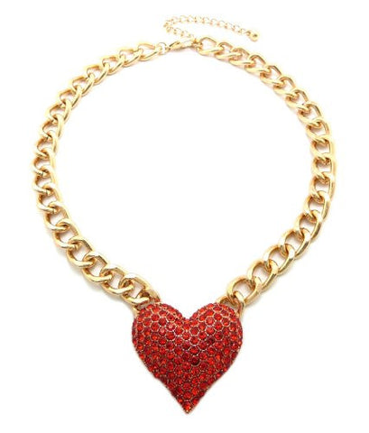 "Gold/Red Tone Rhinestone Heart Pendant 11mm 16"" Necklace HN1091GDRED"