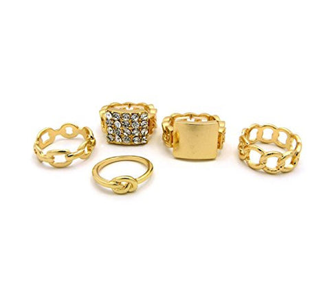 5 Piece Infinity Circle Band Ring, Midi Ring, Stretch Band Plaque Ring Set