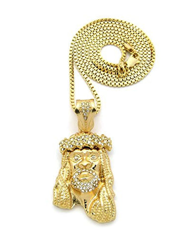 "Rhinestone Jesus Pendant with 30"" Box Chain Necklace in Gold-Tone XZ12GBX"