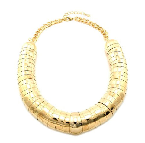 "Very Thick Gold Color 23mm 18"" Rounded Up Slinky Chain Necklace CN1002GD"