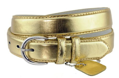 Nyfashion101 Women's Basic Leather Dressy Belt w/ Round Buckle H001-Gold-S